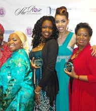 On Saturday, April 19, 2014, the Open Door Fellowship hosted The SheRose Awards Gala in honor of unsung survivors of sexual abuse and violence at the Double Tree Hilton in Pikesville, Maryland. (Left to right) Honorees: Sister Tracy, Reah Idris and Nikasha Uqdah from Phoenix Rising Baltimore; Candace Saunders, founder of SheRose Awards Gala; LaQuisha Hall; Dr. Cecelia Martin; and Alexus Hobbs.