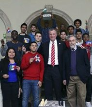 NYC Mayor Bill de Blasio and the city's girls and boys Chess competitors.