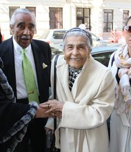 L to R: Alma Rangel and Charles Rangel with Leatrice Sutton and her grand daughter Keisha Sutton James