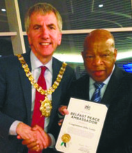 L to R: Belfast Lord Mayor Mairtin O Muilleoir with legendary Rep. John Lewis