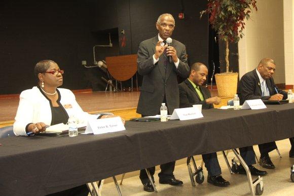 Incumbent District 5 DeKalb School Board member Thad Mayfield drew heat at a Southwest DeKalb High PTSA candidate forum on ...