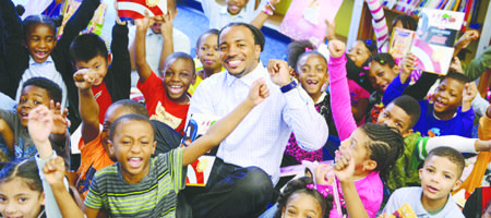Usama Young of the Oakland Raiders recently returned to Phyllis E. Williams Elementary School in Upper Marlboro, Maryland, to donate ...