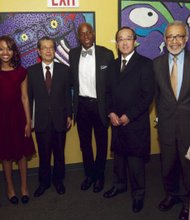 L to R: Martin Luther King Jr. Center for Non-Violence board member Yohei Suzuki, teenage jazz vocalist Sheimyrah Mighty, Secretary General of Mayors for Peace Yasuyoshi Komizo, state Sen. Bill Perkins, Hiroshima Mayor Kazumi Matsui, Martin Luther King Jr. Center Executive Director Cliff Frazier and Japanese jazz vocalist Okaru Lovelace
