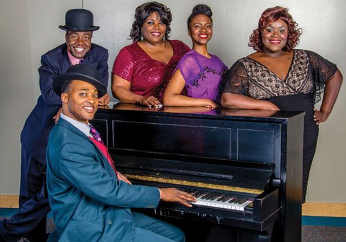 Stumptown Stages presents Ain't Misbehavin' with Monté J. Howell (from left), Julianne R' Johnson-Weiss, Shanelle Nicole Leonard, Deidra Grace Chiverton and Terence Kelley (at piano).