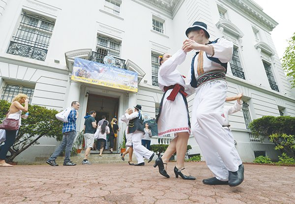 Dancers from Carpathia DC performed in front of the Romania Embassy and offered dance classes during the annual Passport DC Embassy Tour on Sat., May 10 in Northwest.