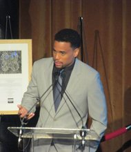 Actor Michael Ealy speaks at Brotherhood/Sister Sol's 10th Annual VOICES Gala