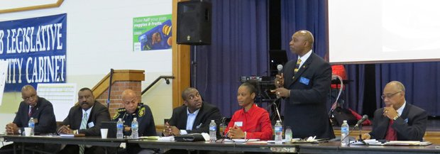 Candidates for DeKalb County Sheriff make their case at a forum at Commissioner Stan Watson's monthly Community Cabinet  Meeting at Chapel Hill Middler School.