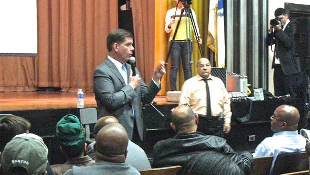 "Mayor Marty Walsh addressed community resident questions at a ""Mondays with the Mayor"" forum in Roxbury on May 19."