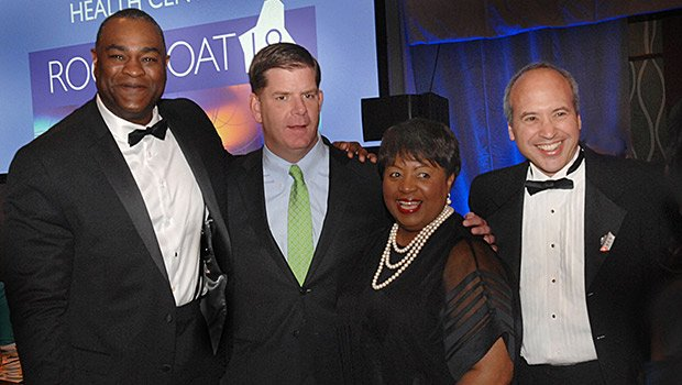 (l-r) Event co-chair Dr. Eugene Lambert, Mayor Marty Walsh, Mattapan Community Health Center President and CEO Dr. Azzie Young, and event co-chair Dr. Richard Kalish at the Community Health Pinnacle Award celebration, which was attended by 500 people.
