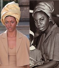 Zoe Saldana, left, as legendary singer Nina Simone