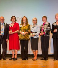 (Left to right) Committee Chair Barbara Brown with 2013 Annie Award winners, James W. Cheever, Lifetime Achievement; Rebecca C. Jones, Literary Arts, Elizabeth Melvin, Performing Arts; Sally Wern Comport, Visual Arts; Marietta N. Schrieber, Arts Educator; Pat Barland, Arts Patron and Executive Director of the Arts Council of Anne Arundel County, April Nyman.