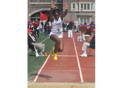 Christina Epps soared to victory in the triple jump at the ECAC/IC4A Championships at Princeton University's Weaver Stadium track by leaping a season best 43 feet. 50 inches (13.12 meters)