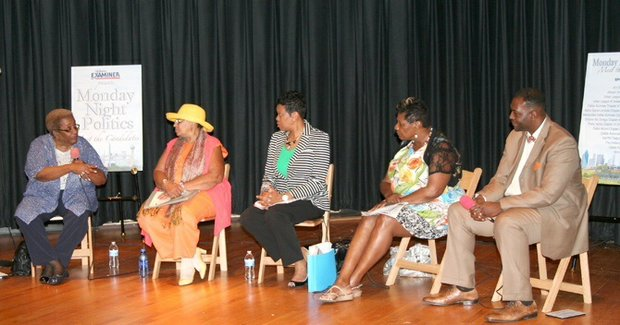 From left: Dr. Rosie Sorrell, former State Board of Education member; Mavis Knight, a current State Board of Education member; Keisha Crowder Davis, director of High School Redesign for Dallas ISD; Ramona Clarkson, a DISD parent and grandparent; and Moderator Casey Thomas