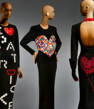 From left, two ensembles from Patrick Kelly's Fall_Winter 1986-87 collection, and an ensemble from Fall_Winter 1988-89.