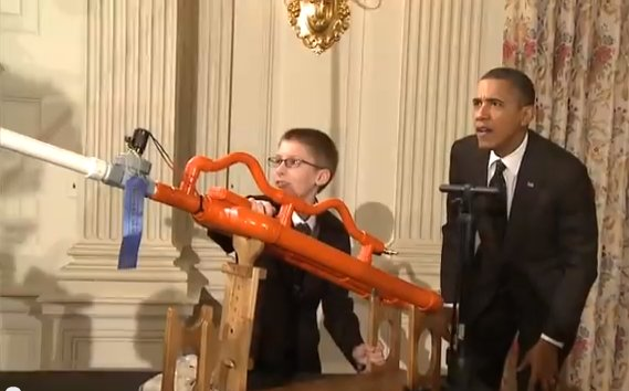 President Barack Obama played host Tuesday to the fourth annual Science Fair at the White House, where more than 100 ...