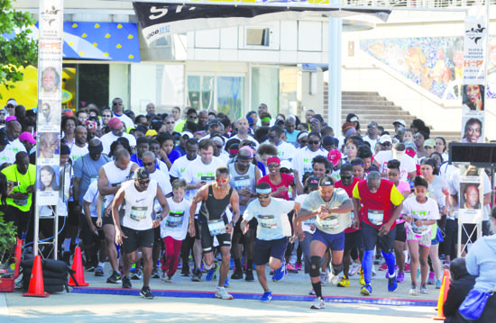 "Runners are poised at the starting line of the ""Hope Without Boundaries"" 5K Race/Walk on Saturday, May 24. More than 700 people participated in the event which spotlights the quarter-million black and brown individuals who are kidnapped or disappear every year."