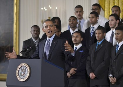 "President Obama announcing his ""My Brother's Keeper"" initiative."
