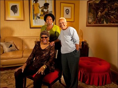 Dr. Maya Angelou (seated) with Joanne Gabbin of James Madison University and Virginia Tech Distinguished English Professor Nikki Giovanni.
