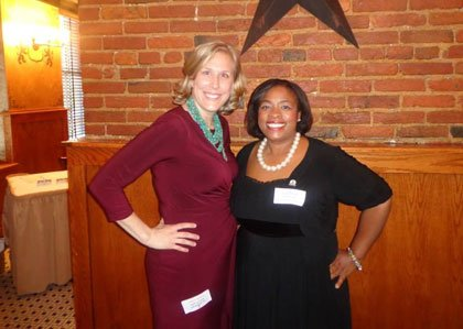 Suzy Prucka (left) current president with Cylia E. Lowe, Esq. 2014-2015 President-Elect.