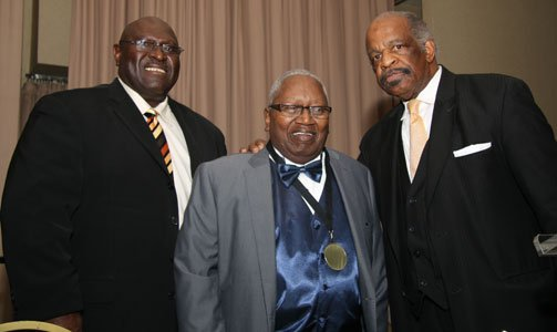 Rev. Dr. James Gray, Jr. (center) with two former UBMC Presidents; Rev. Dr. Matthew Jones, pastor Concord Baptist Church (left); and Rev. Charles Coger, pastor of Mt. Ararat Baptist Church (right) at the celebration banquet to honor outgoing UBMC President Rev. James Gray, Jr. on Friday, May 23, 2014 at Martins West in Baltimore.
