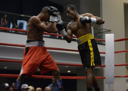 "Super featherweight Nuwan ""The Lion""Jayakodi throws an uppercut against David Warren Huffman during a six-round bout on May 31 at the Washington Convention Center in Northwest. Jayakodi won by decision."