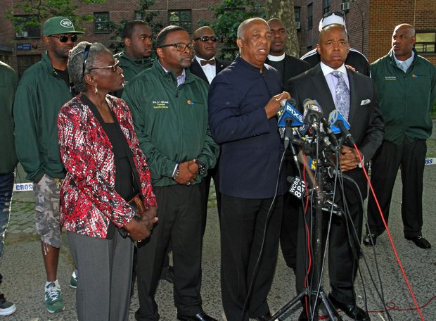 Press conference at Boulevard Houses: Councilwoman Inez Barron, Andre Mitchell, Charles Barron, and BP Eric Adams