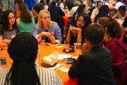 Author of Orange is the New Black Piper Kerman talks to high school students during the roundtable discussions.