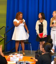 CEO Dr. Danielle Moss Lee speaks with high school students Katy Ma and Allie Primak about issues facing teenage girls.