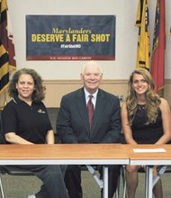 College of Southern Maryland's students and alumna met with U.S. Sen. Ben Cardin on June 2, 2014 at the La Plata Campus to discuss college affordability.   From left are Deveraux Smith of Waldorf who graduated with an associate's degree in social sciences in May and is transferring to University of Maryland Baltimore County, Keri Williams of Waldorf who graduated from CSM in 2009 and transferred to Howard University where she earned a bachelor's degree in multi-media studies, Becky Sanford of Newburg who is a current CSM student studying dental hygiene and Nick Nelson of Bryans Road, a criminal justice major using his GI Bill benefits following his service in the U.S. Navy. The students, who are using Pell Grants, state grants, scholarships, military benefits and the CSM payment plan to cover tuition and education expenses, told Cardin of their desire to graduate without large student loan debt. Others involved in the roundtable included Sonia Wagner with SoMD CAN/College Access Network as well as representatives for CSM's Student and Instructional Support Services and the CSM Foundation.