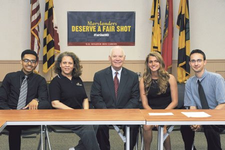 College of Southern Maryland's students and alumna met with U.S. Sen. Ben Cardin on June 2, 2014 at the La Plata Campus to discuss college affordability.  