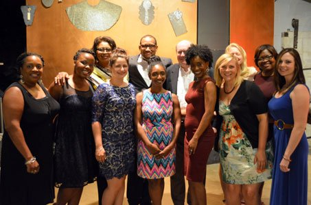 Children's Guild Treatment Foster Care staff at the fourth annual foster parent appreciation ceremony at the Baltimore Museum of Industry on Wednesday, May 28, 2014. (Back row, left to right) Kay Brazile, Maurice Harris, Steve Howe, Constance Boyce and Nichole Boswell. (Front row, left to right) Terry Baisden, Tiffany Smith, Meaghan Tine, Keisha Bryan, Stacey Hampton, Jillayne Van den Brink and Emily Howe.
