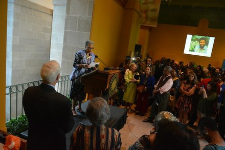 """Johnnetta Betsch Cole (center), director of the Smithsonian National Museum of African Art, welcomes guests to the """"African Art at 50"""" celebration at the museum in D.C. on June 3, 2014."""
