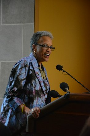 """Johnnetta Betsch Cole, director of the Smithsonian National Museum of African Art, speaks during the """"African Art at 50"""" celebration at the museum in D.C. on June 3, 2014."""