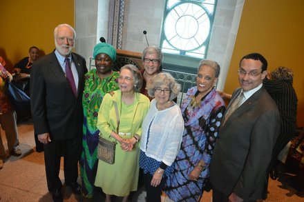 """From left: Wayne Clough, Secretary of the Smithsonian Institution; Mary Brody, an artist from Ghana; Lydia Robbins, wife of late museum founder Warren Robbins; Marilyn Moore; Johnnetta Betsch Cole, director of the Smithsonian National Museum of African Art, and D.C. Mayor Vincent C. Gray attend the """"African Art at 50"""" celebration at the museum in D.C. on June 3, 2014."""