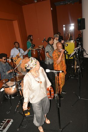 """Farafina Kan, a West African percussion orchestra, performs during the """"African Art at 50"""" celebration at the Smithsonian National Museum of African Art in D.C. on June 3, 2014."""