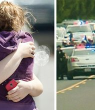 (left side)Briannah Wilson, 21, (left) and her sister Brittanie Wilson, 19, embrace after students arrive at a shopping center parking lot in Wood Village after a shooting Tuesday at Reynolds High School. A still image from a video by KGW Channel 8 shows police checking students and faculty members after a shooting incident at Reynolds High School.