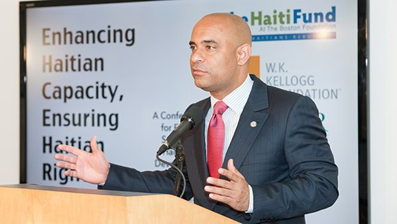Haitian Prime Minister Laurent Lamothe spoke at a funders conference held at the Boston foundation, outlining his government's efforts to ...