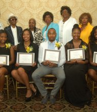 Sitting, L to R: Phelina Robinson, Dominique Short, Maurice Reid, Alexandria Guy and Monique C. Joseph (Bronx Triangle scholarship recipients); standing rear, L to R: Janice Keller, Hyacinth Hill, Eleanor Gitten, Thelma Wallace, Marion Burrell and Pauline Watson (Bronx Triangle board members)