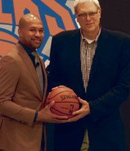 The new Garden team: head coach Derek Fisher and President Phil Jackson