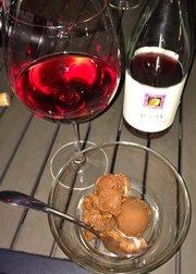 Dark chocolate sorbet and rose for dessert
