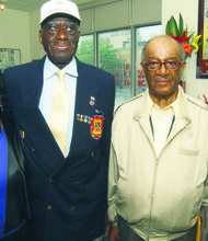 L to R: Elizabeth S. Carr (co-chair, Black Veterans for Social Justice, Brooklyn), Johnnie White (Korean War veteran), Adolphus Lotson (WWII disabled veteran) and Eric Glaude (Vietnam Airborne veteran)