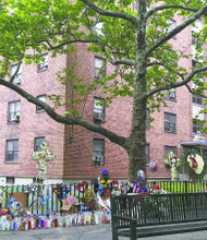 Memorial for Prince Joshua Avitto outside his home in East New York