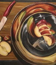 """Sliced Apples, 2014"" by Christine Chu (age 17, grade 12), oil on canvas. Fiorello H. LaGuardia High School of Music & Art and Performing Arts, Manhattan. Art teacher: Andrew Stehle"