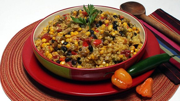 This recipe of brown rice and vegetables is low in fat and sodium but high in protein and fiber.