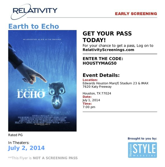 Join the Houston Style Magazine team at the movies on Tuesday, July 1st at 7pm to Earth to Echo at ...