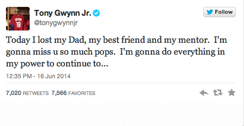 Baseball Hall of Famer, Tony Gwynn, died at age 54 due to cancer from chewing tobacco for many years.