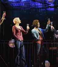 "Tamika Lawrence as Elena, Jenn Colella as Anne, LaChanze as Kate and Idina Menzel as Elizabeth in ""If/Then"""
