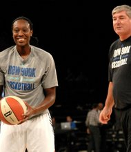 Tina Charles working out with coach Bill Laimbeer