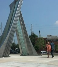 Photo of the newly constructed waterfall sculptures in front of Atlanta's new Civil Rights Center