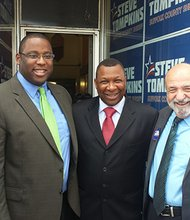 Joining Suffolk County Sheriff Steve Tompkins (center) at the opening of his Dudley Square office are former state Sen. and candidate for attorney general Warren Tolman, Councilor Tito Jackson, former Councilor and candidate for Register of Probate Felix D. Arroyo and Councilor Frank Baker.